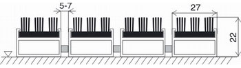 грязезащитная решетка Topwell 22 мм резина/трехрядная щетка