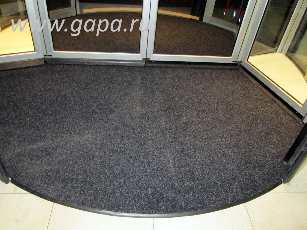 Влаговпитывающий грязезащитный ковер CATWELL (черный) в резиновом окантовочном плинтусе