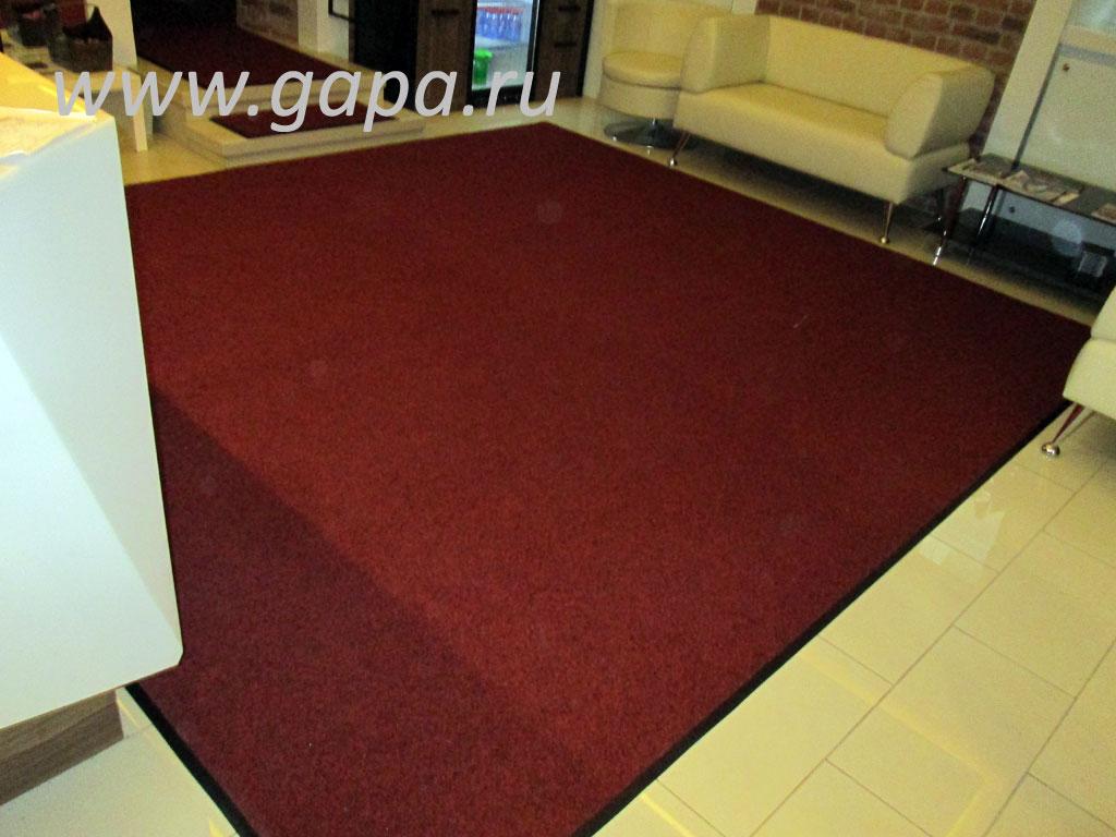 Влаговпитывающий грязезащитный ковер CATWELL (красный) в резиновом окантовочном плинтусе