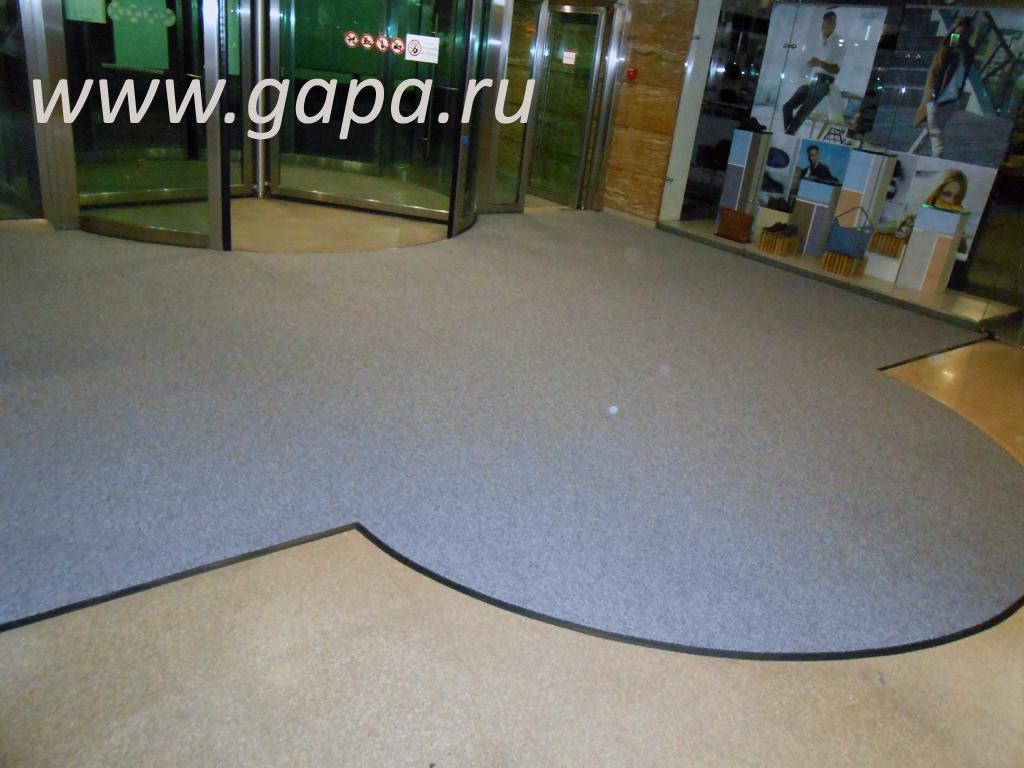 Влаговпитывающий грязезащитный ковер CATWELL (серый) в резиновом окантовочном плинтусе