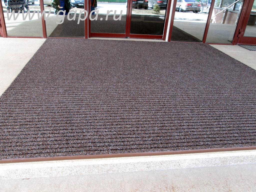 Влаговпитывающий грязезащитный ковер SHATWELL (коричневый) в резиновом окантовочном плинтусе
